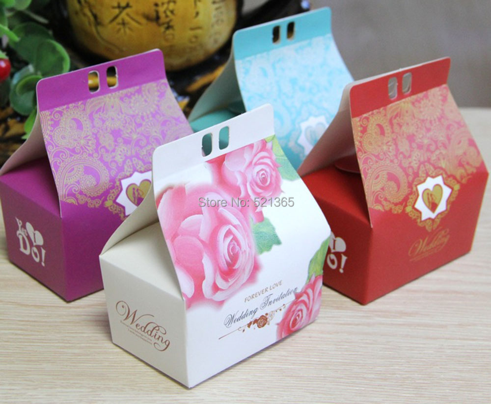 50pcs/lot lovely flower style 10*4.2*10cm paper Gift Boxes Cake Box ...