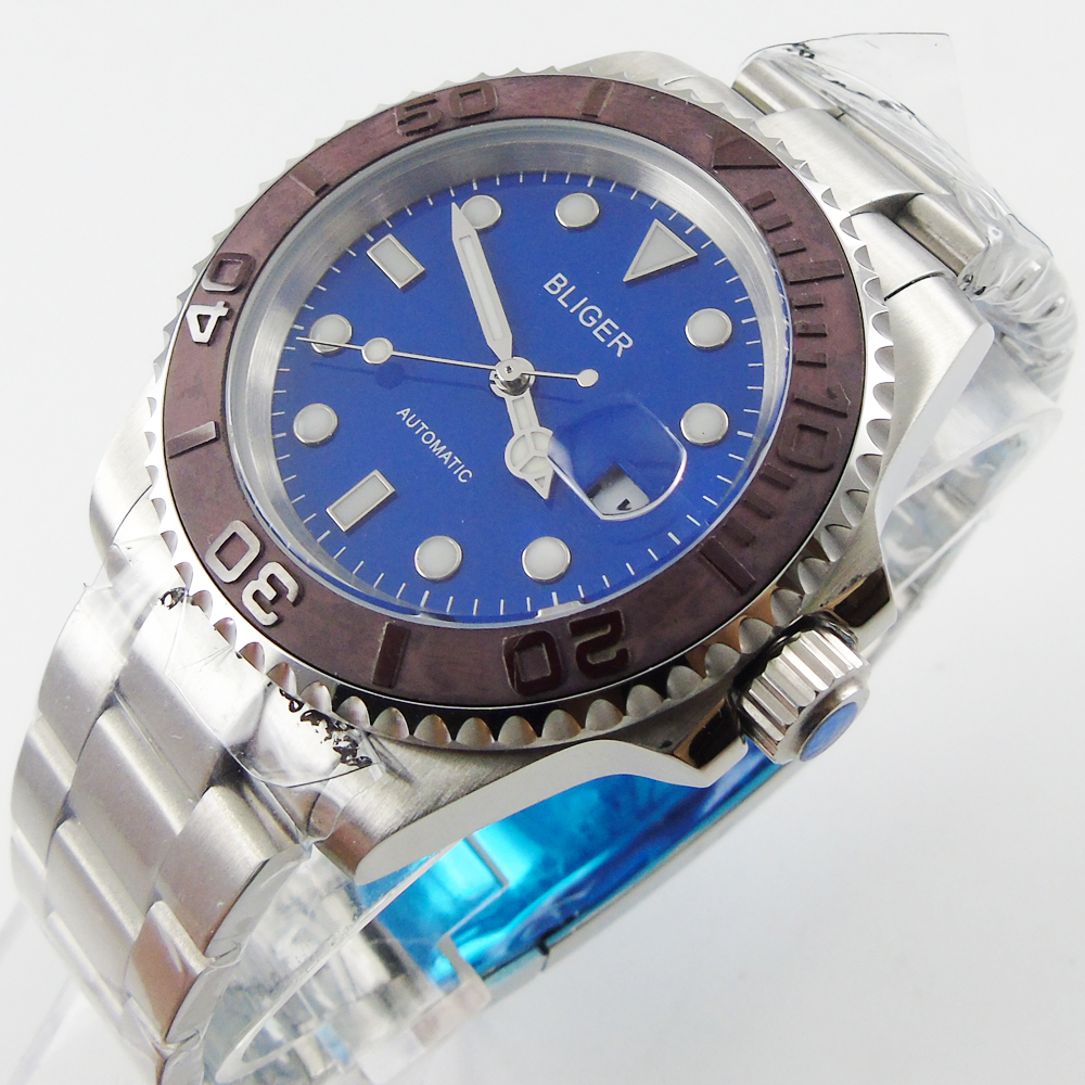 Bliger 40mm blue dial date coffee Ceramics Bezel  saphire glass Automatic movement Men's watch bliger 40mm gray dial date blue ceramics bezel stainless steel case saphire glass automatic movement men s watch