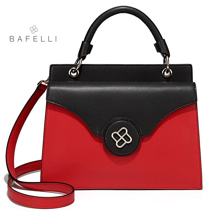 BAFELLI 2018 spring the new split lether handbag dual-use hasp shoulder bag red black bolsa feminina women messenger bags цена и фото