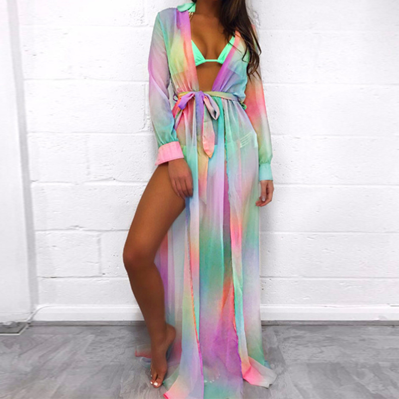 Boho Women Summer Beach Robe Gown Printed Maxi Long Dresses Sexu Split Cover Up Ladies Casual Party Thin Transparent Vestidos