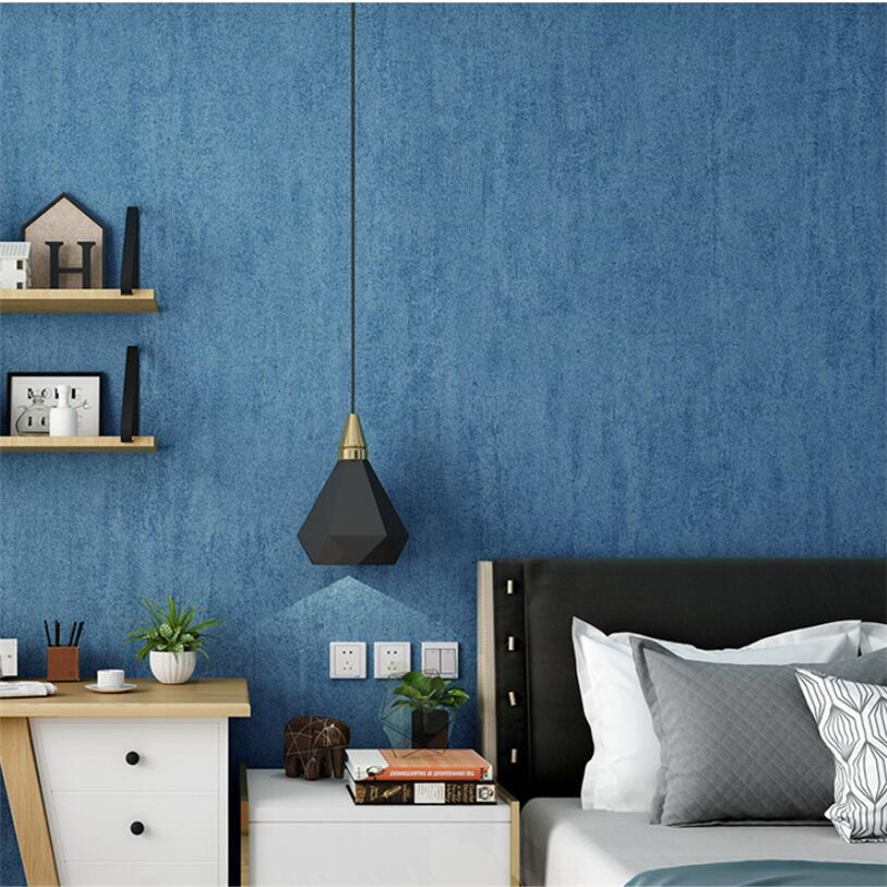 Mediterranean Non-woven Blue Wallpaper Plain Solid Color Modern Minimalist Fashion Living Room Bedroom Nordic Ins Wallpaper