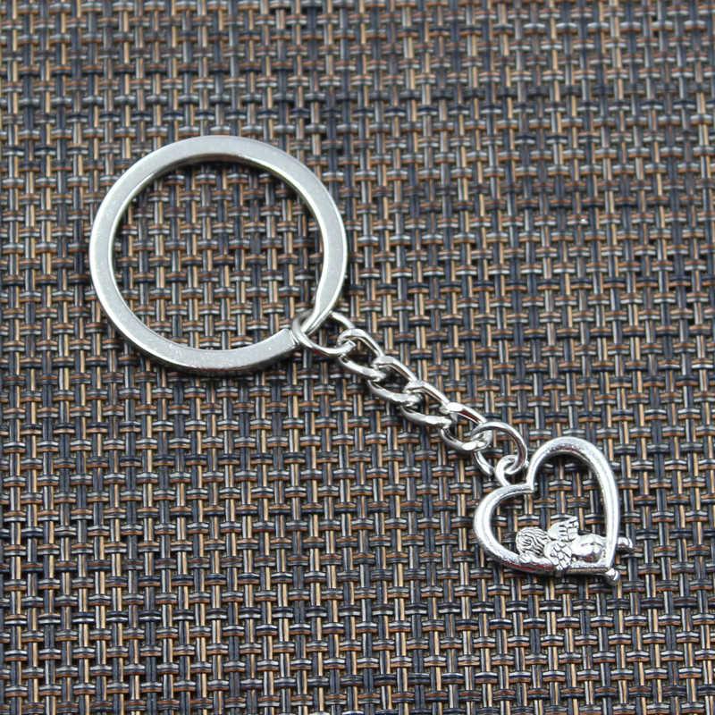 Keychain di modo 20x18mm Cuore Amante Angelo Cupido Pendenti con gemme e perle Uomini Gioielli FAI DA TE Anello Della Catena Chiave Dell'automobile Supporto di Souvenir per il Regalo