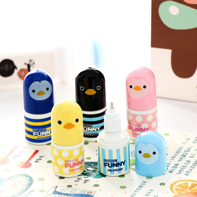 Super Cute Kawaii Manual Chick Correction Liquid Children'S Student Gifts Stationery School Office Supplies 1pc (Color Random)