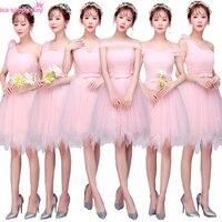Modest giá rẻ ánh sáng hồng bridemaid ngắn spaghetti dây đeo tulle elegant phù dâu gowns dress đảng corset dresses H3881