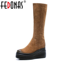 FEDONAS Punk Women Wedges High Heels Autumn Winter Knee High Boots High Platforms Casual Shoes Woman Long Warm Ladies Boots