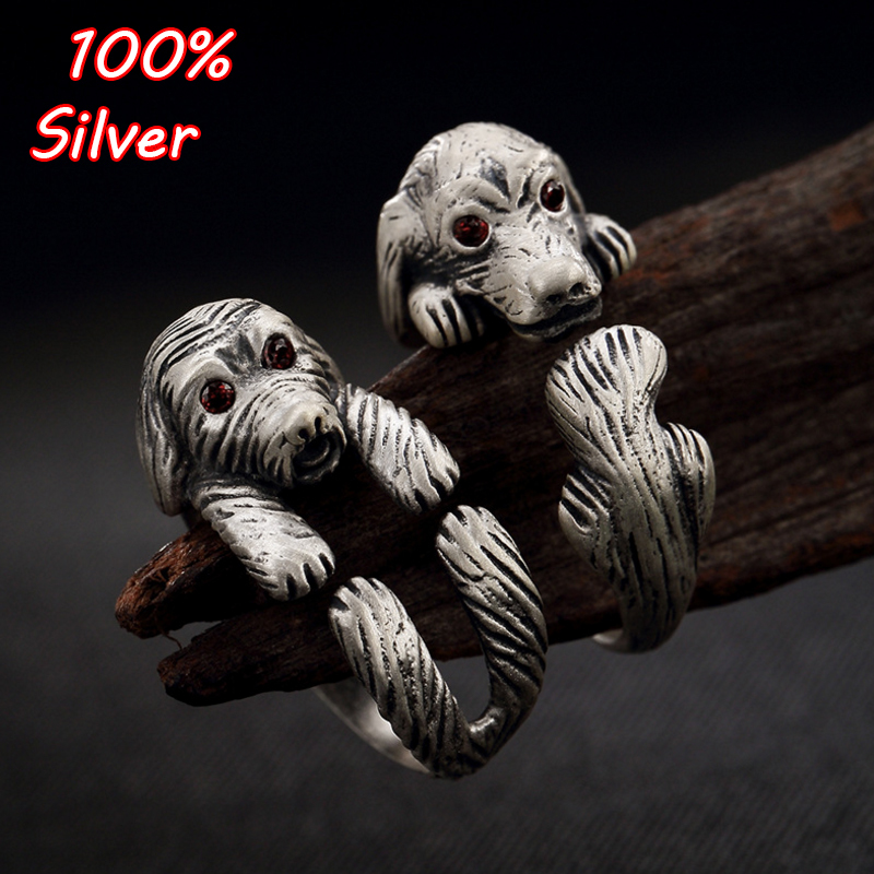 Hot Unisex Women Men Vintage 925 Sterling Silver Ring Gothic Style Unique Cute Dog Puppy Wrap Opening Finger Ring цена