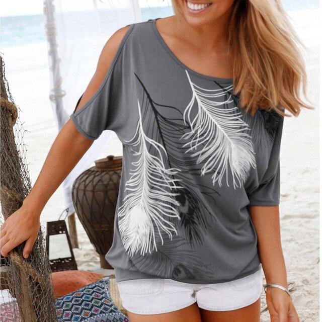 2018 קיץ נשים נוצת הדפסת חולצות O-צוואר סטרפלס חולצות כבוי כתף קצר שרוולים חולצות טי Loose סוג בתוספת גודל