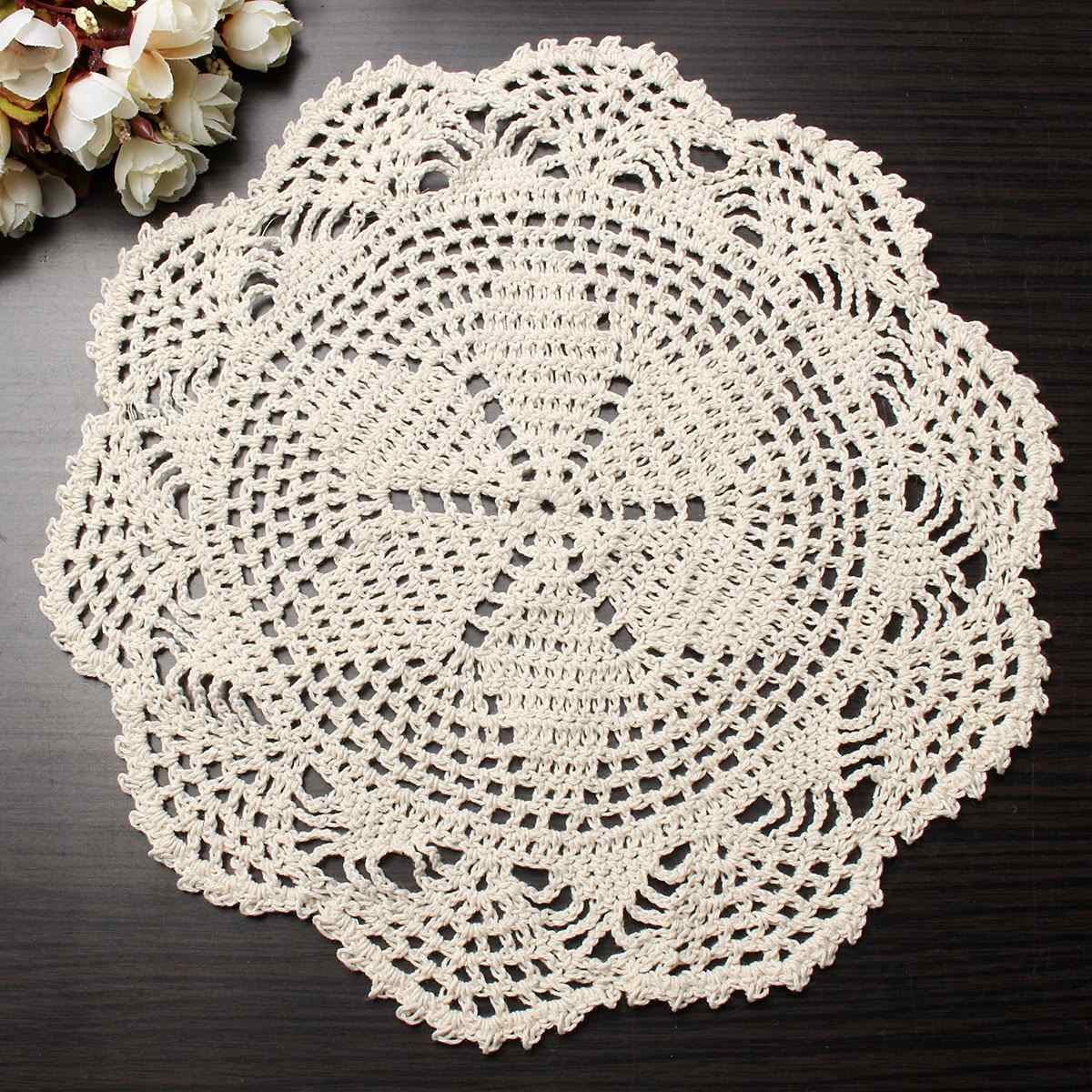 28cm vintage beige crochet lace doily cotton yarn handmade flower placemat round doilies for wedding home