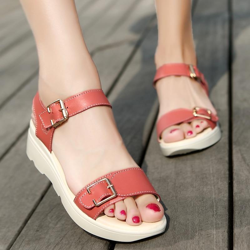 ULKN women Open Toe Platform Sandals women casual shoes Nwomen sandals PU Leather flat Sandals Low Wedges Summer Shoes 3