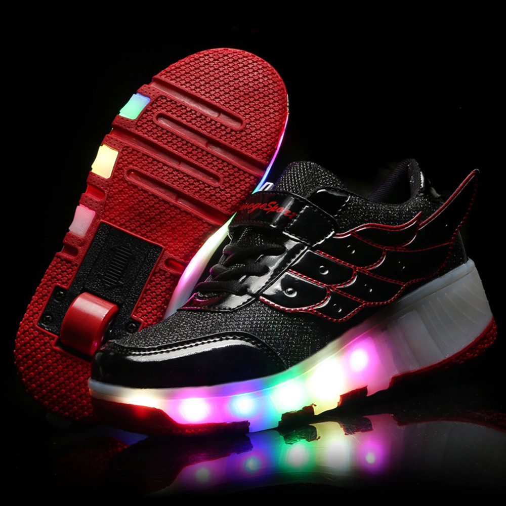 Roller shoes payless - Aliexpress Com Buy Children Shoe Roller Shoes With Led Flashing Lights Kids Skate Shoes Sneakers With Wheels Boys Girls Zapatillas Con Ruedas From