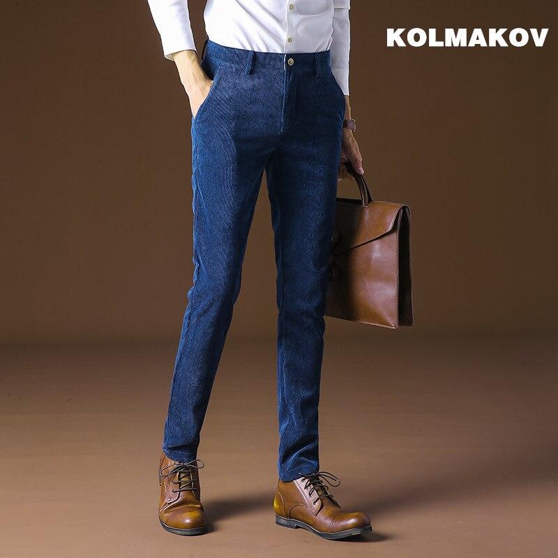 Best buy ) }}2018 new autumn Men's Pants Corduroy Pants slim fit Long Trouser Masculino