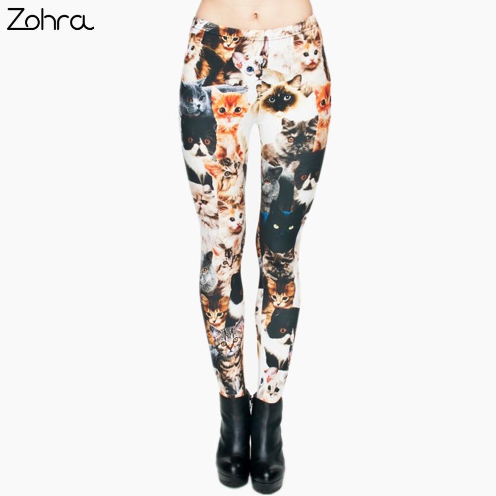 Zohra Fashion Animal Shapes Cats 3D Full Printing Punk Women Legging Slim Fit Trousers Casual Pants Leggings