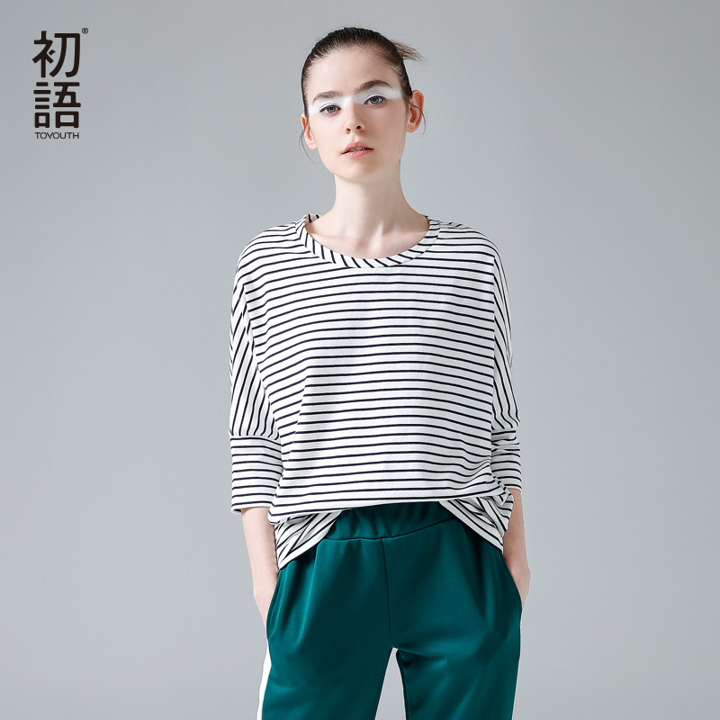 Toyouth 2017 Women T Shirt New Spring Autumn Woman O Neck Batwing Half Sleeve Casual Stripe