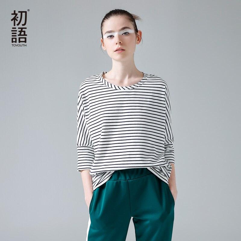 Toyouth 2017 mujeres camiseta nueva primavera otoño mujer cuello batwing media m
