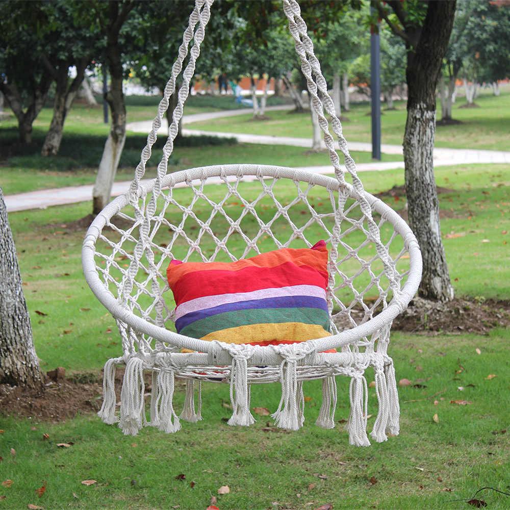 Гамак из хлопчатобумажного каната гамак для детей ручной Вязание макраме качели для детей Крытый открытый кресло-качалка для сон кровать