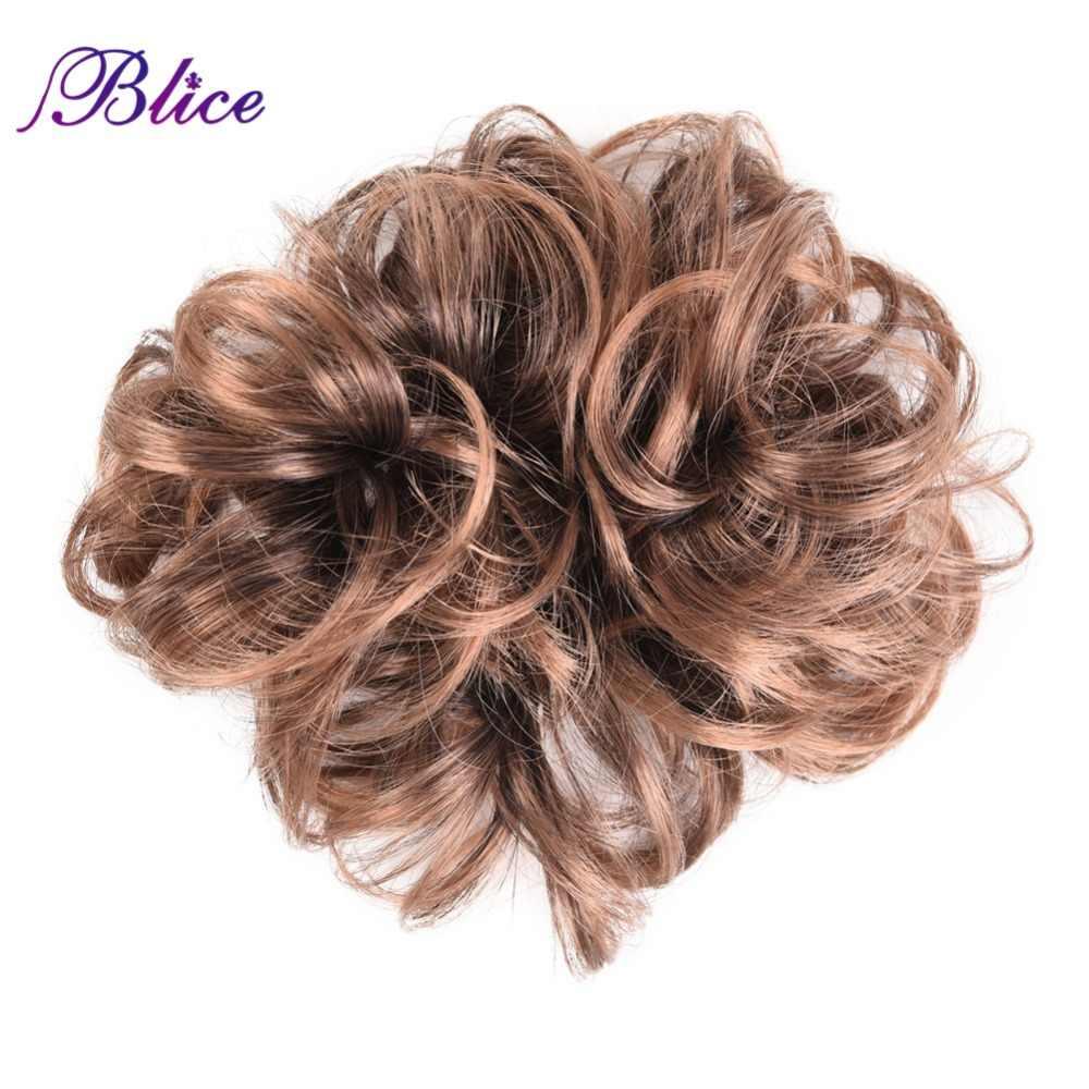 Blice syntetyczne kręcone Chignon Hairpiece dla kobiet elastyczne przedłużanie Scrunchies wstążka włosy w koński ogon wiązki