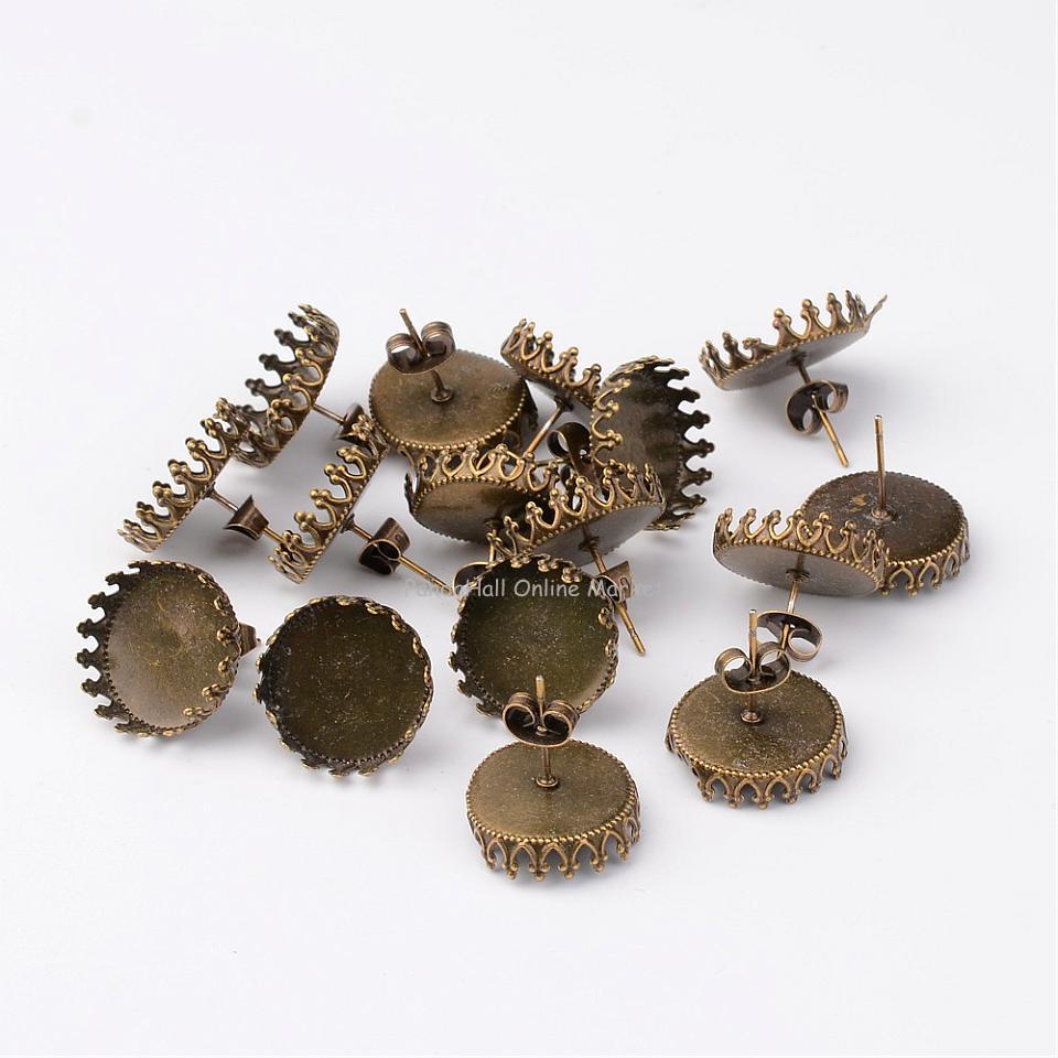 Nickel Free Tibetan Style Brass Ear Stud Components, Flat Round, Antique Bronze, 16mm, Tray: 15mm, Pin: 0.6mm