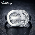 White gold plated CZ diamond ring Double O jewelry Wedding rings gifts fashion Jewelry Brand design high quality VSR044