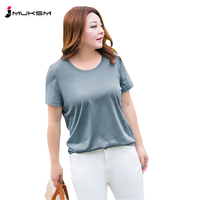 Large Size Women Summer T Shirt Fat MM 2018 New Short Sleeved Loose Cover Belly Stretch Mercerized Cotton Wild Fashion ZTT14