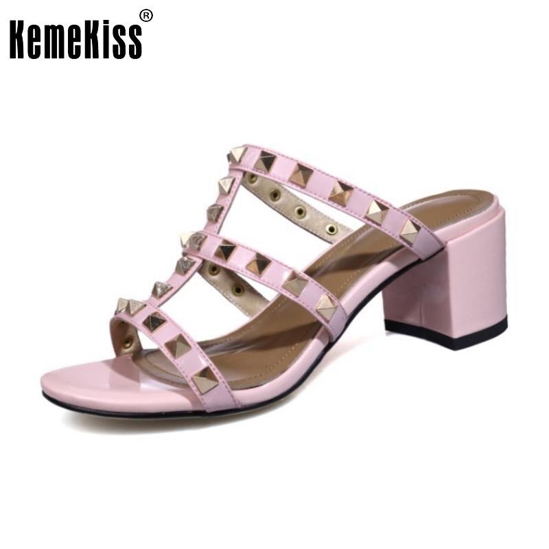 KemeKiss Women High Heels Sandals Real Leather Shoes Women Slippers Cross Strap Rivet Heel Sandal Daily Footwear Size 34-39 faux leather cross strap sandals
