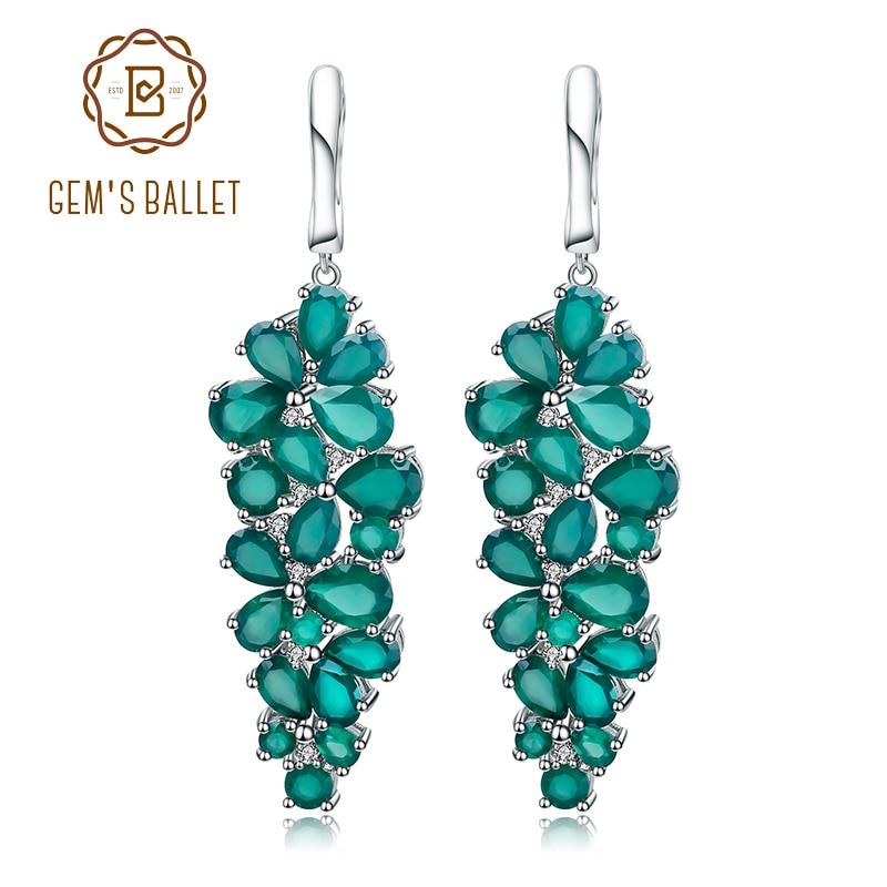Gem s Ballet 16 44Ct Natural Agate Gemstone Drop Earrings 925 Sterling Silver Green Onyx Earrings