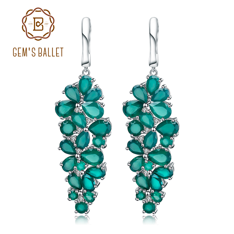 Gem's Ballet 16.44Ct Natural Agate Gemstone Drop Earrings 925 Sterling Silver Green Onyx Earrings Fine Jewelry For Women Wedding