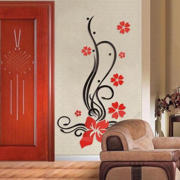 Cristal en trois dimensions stickers muraux fleur vigne salon tv mur romantique personnalité cristal stickers muraux