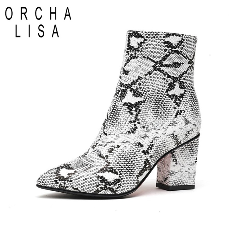 Orcha lisa Snake Print Pu thick High Heels Ankle Boots Women zipper Pointed Toe Foot wear Female short Boots Botas Mujer C869