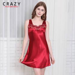 Пикантные сна платье на бретелях шелк имитация Для женщин Большие размеры Лето рукавов пижамы здоровый домашнее платье