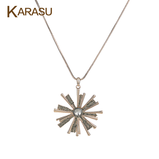 Fashion Round Austrian Crystal Snowflake Shape Gold Plated Long Snake Chain Statement Pendant Necklace for Women Jewelry Gifts