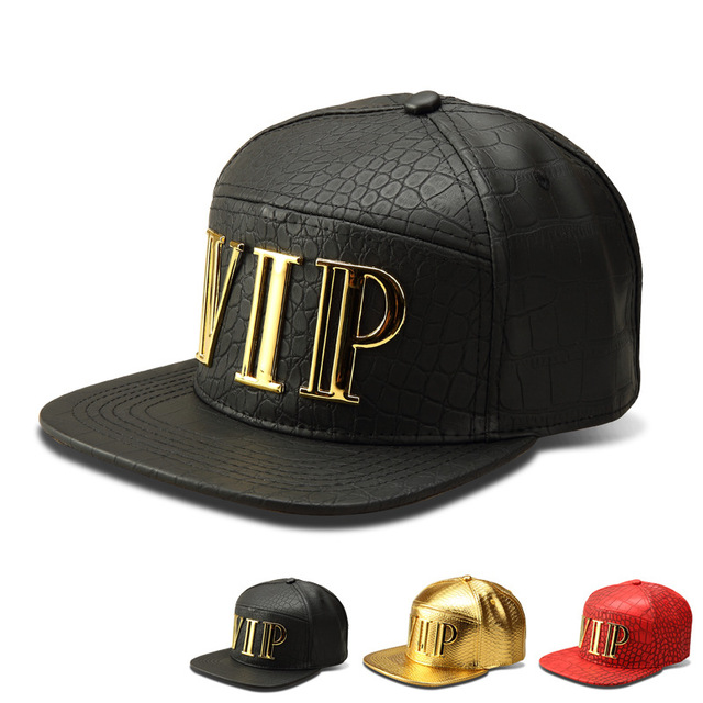 New Vip Caps Hip Hop 5 Panel Baseball Cap PU Leather Hats Unisex Gold Black Red Snapback Gorras Planas Casquette Bones Aba Reta