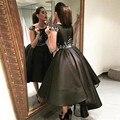Nueva Llegada Negro Elegante Vestidos de Cóctel 2017 Alto Bajo Vestidos de Fiesta Corto Vestidos De Fiesta Envío Rápido