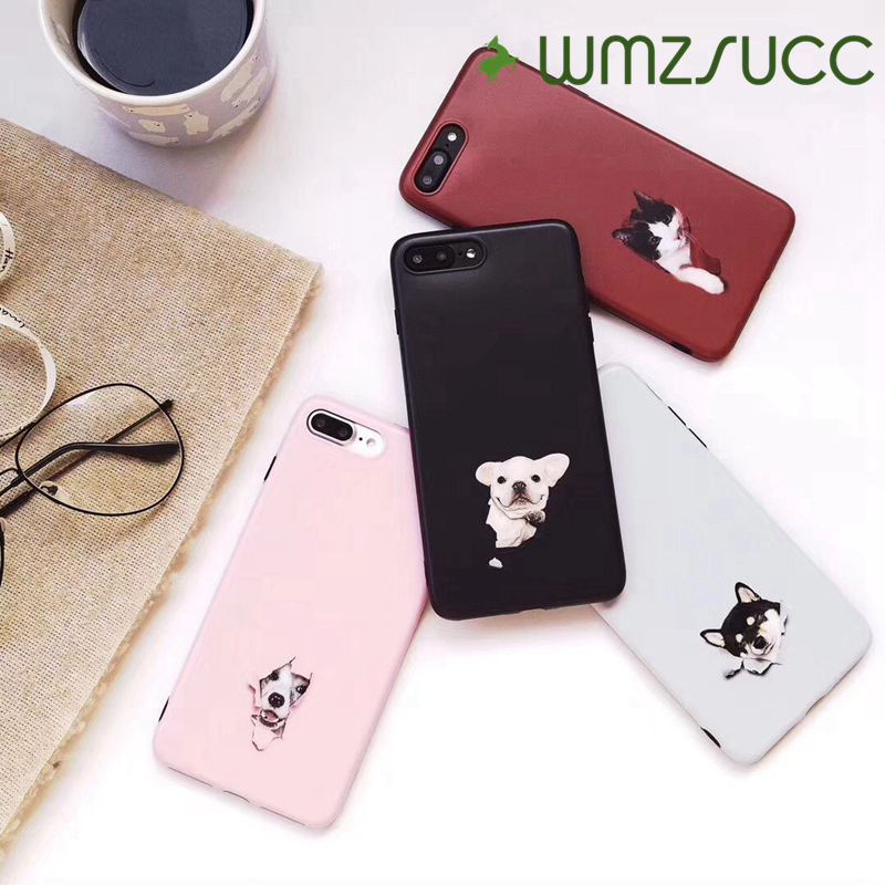 WMZSUCC Pets Bulldog Huskie Cat Dog Matte Phone Case Cover for iPhone X 8 7 Protective Back Cover Case for iPhone 6 6 Plus