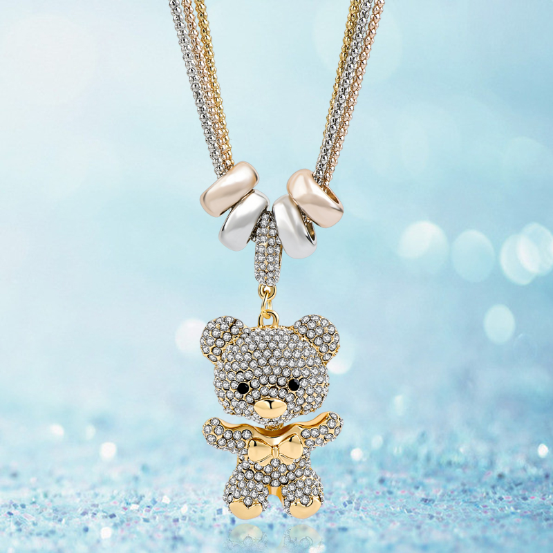 LongWay Gold Long Crystal Lovely Bear Colgante Collar Para Las - Bisutería - foto 4