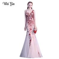 WEIYIN Sexy V Neck Sequins Mermaid Evening Dresses Sleeveless Special Design Robe De Soiree Prom Dress