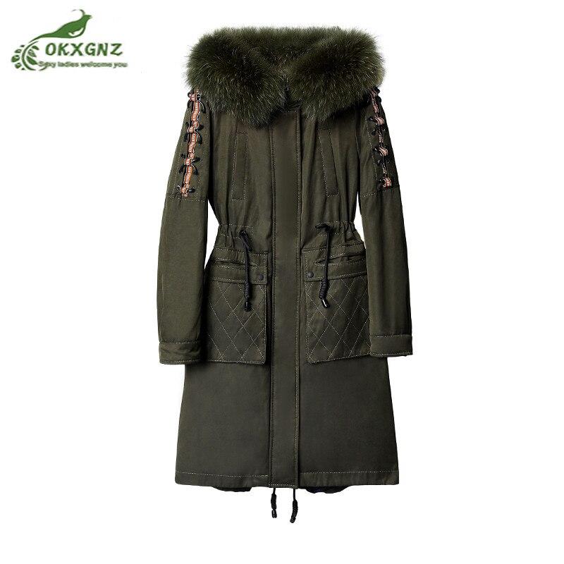 Зима Новый вниз хлопок женские средней длины большие размеры высококачественные тепловой пальто куртки женские меховым воротником Утолще