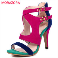 MORAZORA Mixed Colors Shoes Women Pumps Peep Toe Summer Sandals Buckle High Heels Zipper Flock Large