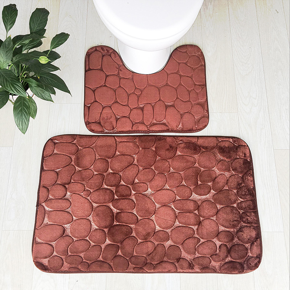2pcs/set Non-slip Suction Grip Bath Mat Bathroom Kitchen Carpet Doormats Decor Bathroom Mat Set Flannel Tapete Banheiro Home & Garden