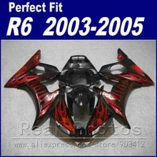 Новый мотоцикл частей для YAMAHA R6 обтекатель комплект 2003 2004 2005 красное пламя в черном Fit YZF R6 обтекатели 03 04 05