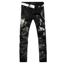 2017 new fashion straight leg jeans long men male printed denim pants cool cotton designer good quality brand trousers  MJB005