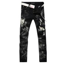 2017 новая мода прямой ногой джинсы длинные мужчины мужской печатные джинсовые брюки прохладный хлопок дизайнер хорошее качество бренда брюки MJB005