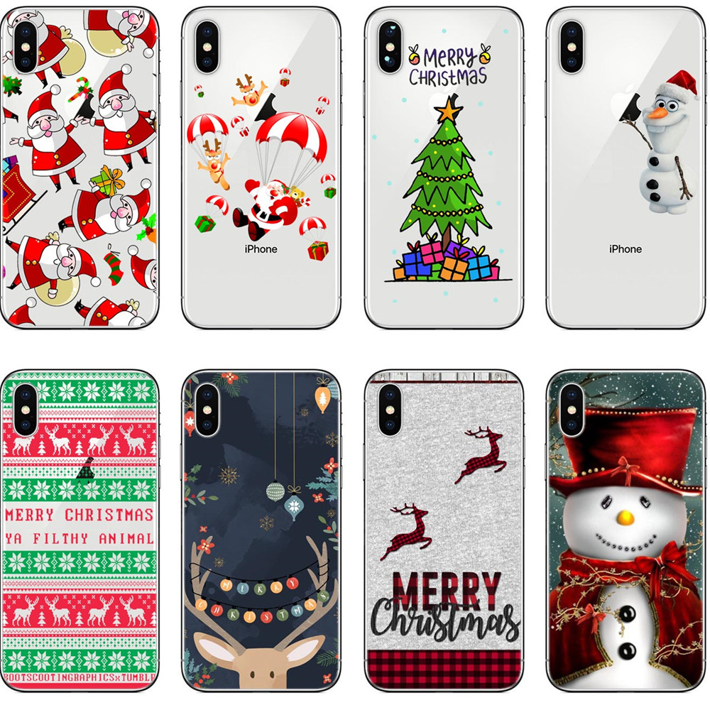 Christmas Iphone X Case.Us 1 97 42 Off Lovely Santa Claus Elk Case For Iphone X Case Cartoon Christmas Painted Cover Fashion Soft Cases For Iphone 5 5s Se 6 6s 7 8plus In