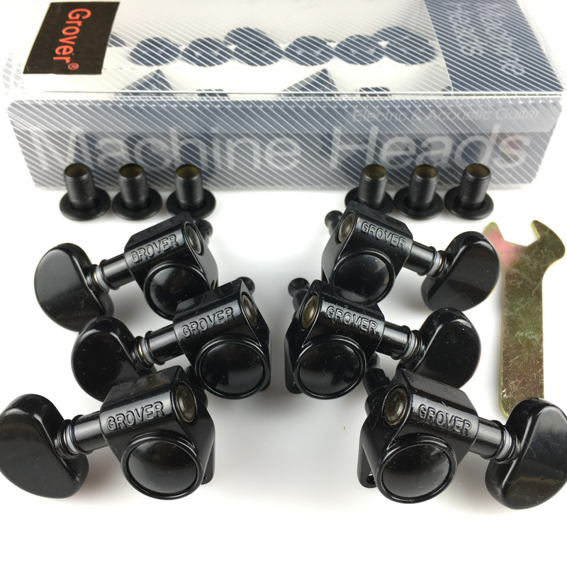 1Set 3R 3L Genuine Grover Guitar Machine Heads Tuners 1 18 Black Without Original Packaging