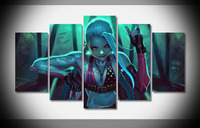 6981 2016 jinx league of legends poster Framed Gallery wrap art print home wall decor wall picture Already to hang digital