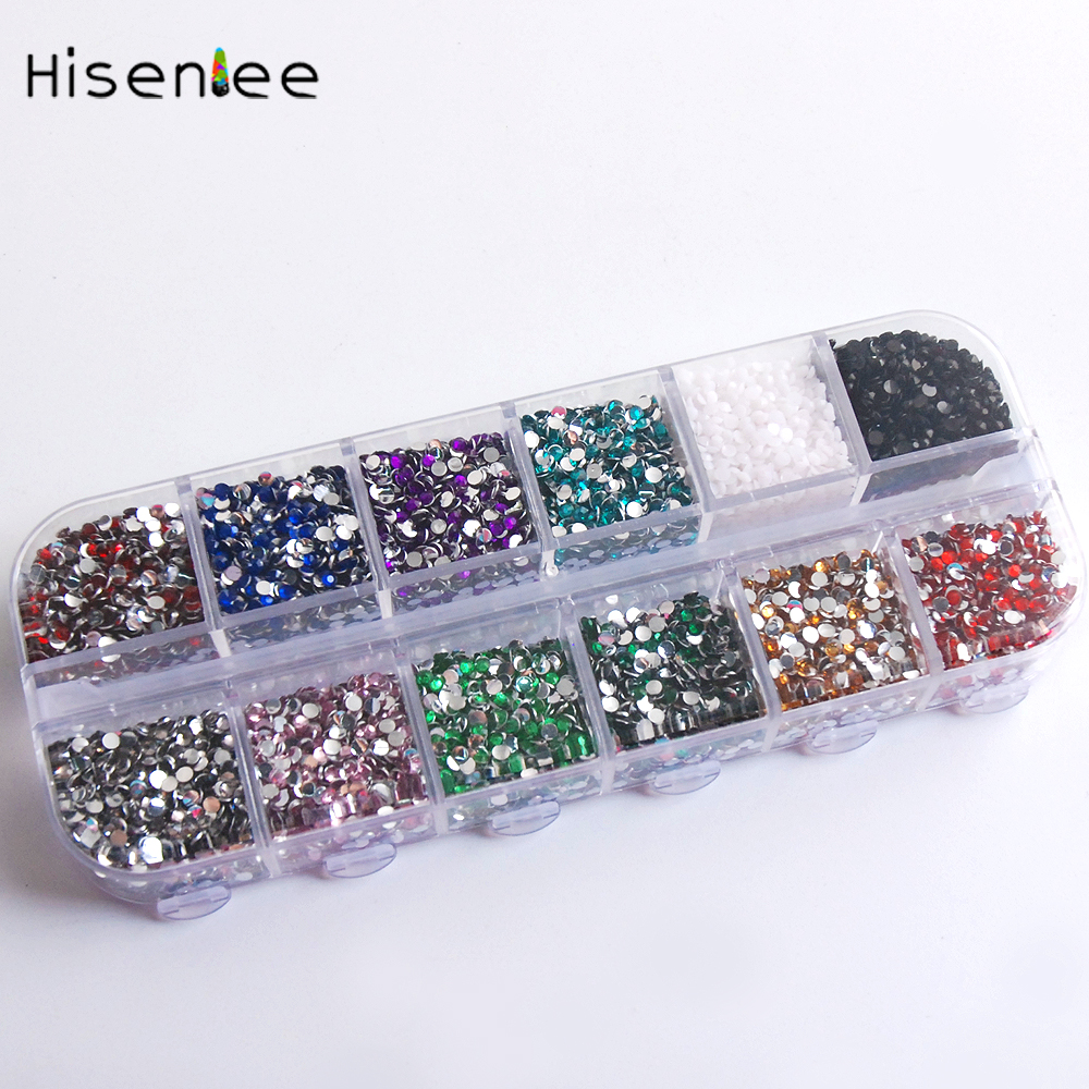 1 Box About 12000pcs ss6 2mm 12color Acrylic Non Hot Fix Rhinestones DIY 3D Nail Art Glitter Decoration Manicure Nail Tips random color nail rhinestones wheel 2mm acrylic nail art rhinestones decoration for uv gel polish deco diy nail tools