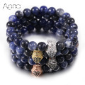 A&N Four Colors Samurai Helmet Charm Bracelets Solid Natural Sodalite Strand Beads Asian Style Men Bracelet Handmade DIY Jewelry