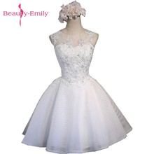 Beauty-Emilly Real Photos Ivory Tulle Prom Dresses 2017 Scoop Appliques Lace-Up Knee-Lingth Dress Short Evening Party Gowns