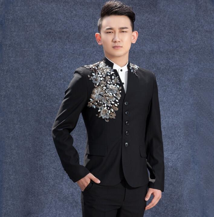 Spike men suits designs masculino terno stage costumes for singers men sequin blazer dance clothes jacket star style dress punk in Suits from Men 39 s Clothing