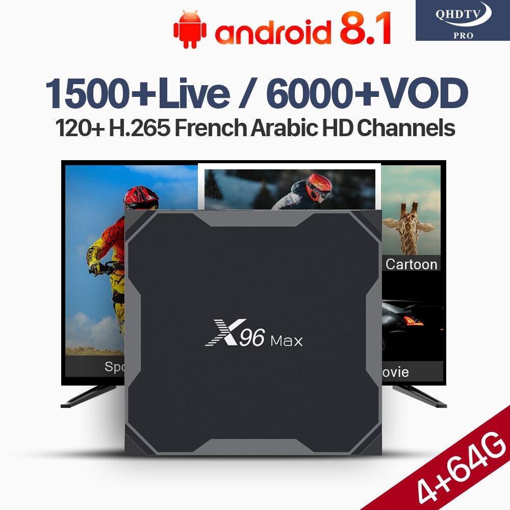 IPTV France Arabe décodeur Android 1 Abonnement d'un An IP TV Android 8.1X96 Max Soutien BT Double-Bande WiFi 4 + 64G 4 K H.265 Décodeur