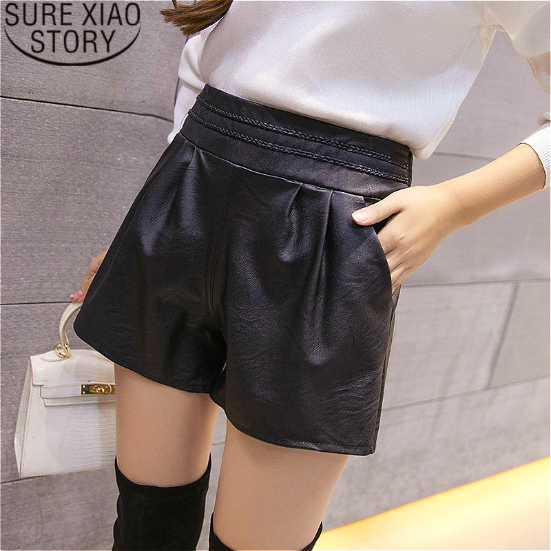 shorts   women plus size black shortsr women PU leather high waisted   shorts   for women Straight Solid Elastic Waist 1915 50